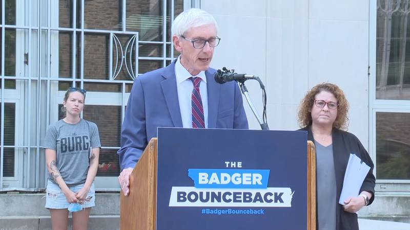 Gov. Evers unveils Rx for Less plan in Wausau on Aug. 4, 2021.