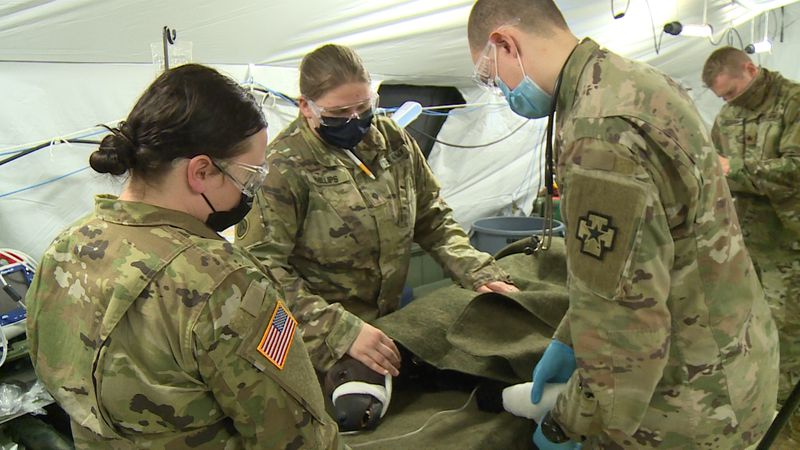 Prior to deployment in the Middle East, soldiers spend time at Fort McCoy learning life-saving...