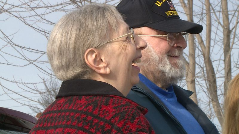 Retired Cornell couple, Jean and Gil Skroch, receive a brand new Ford C-Max Hybrid and $500 in...