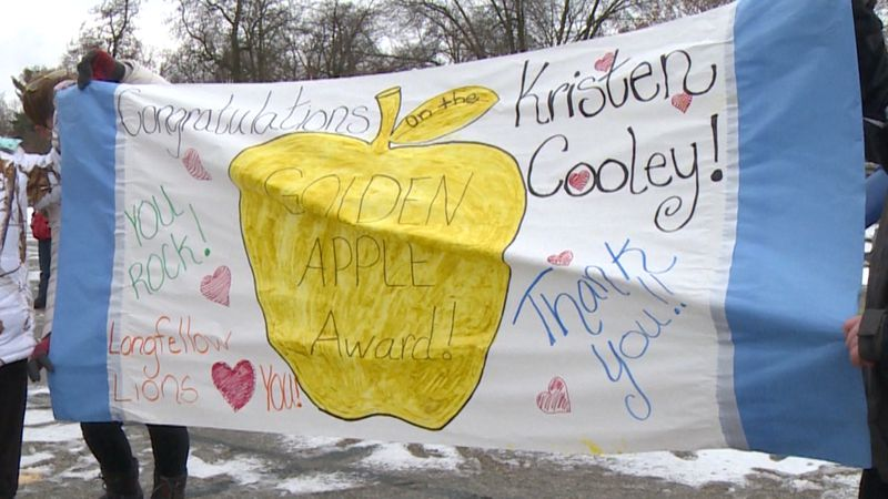 Kristen Cooley honored with Longfellow Elementary Golden Apple Award