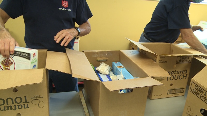 The boxes contain non-perishable food provided in partnership with the United States Department...