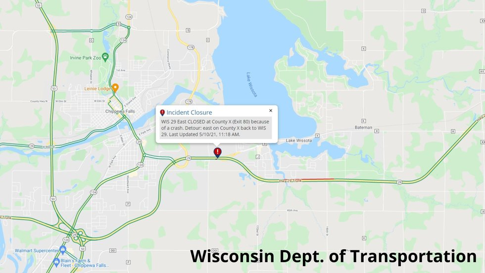 511WI.gov map detail about the crash and road closure on Highway 29 in Chippewa County on...