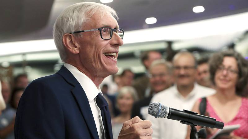 FILE - In this Aug. 14, 2018, file photo, Tony Evers speaks after winning Wisconsin's...