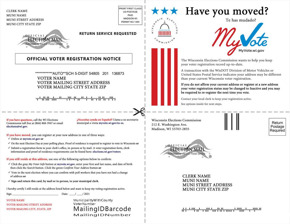 Wisconsin election officials are sending postcards to voters who were flagged as moving from...