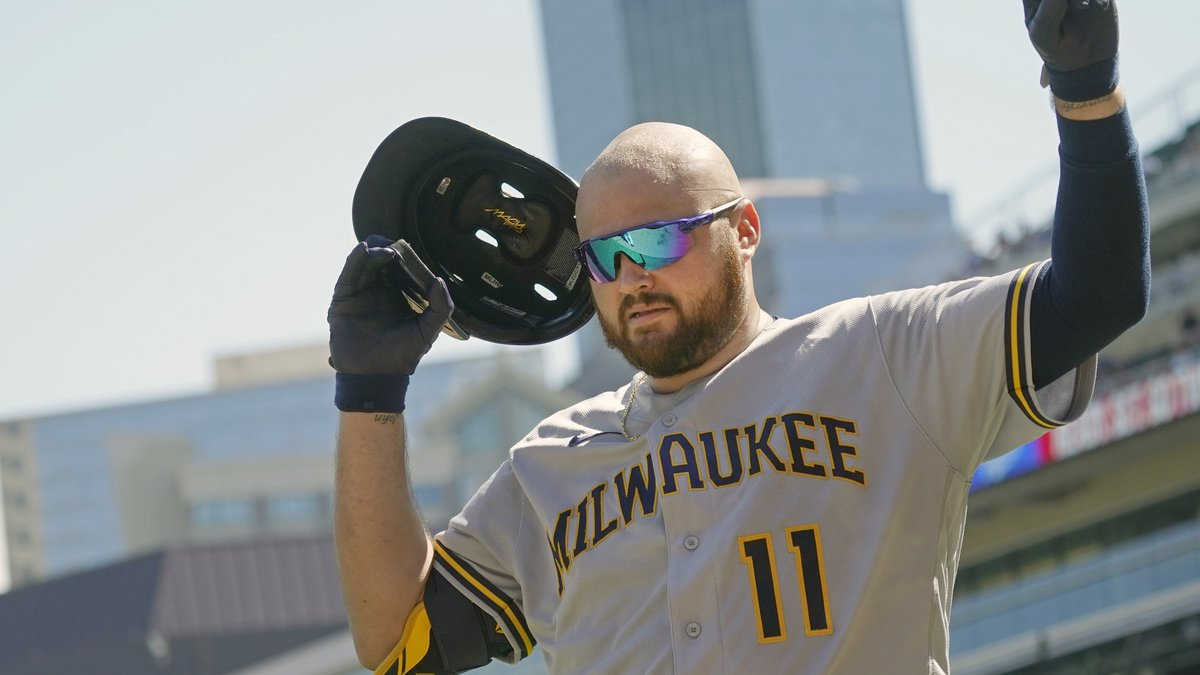 Milwaukee Brewers' Rowdy Tellez celebrates his three-run home run off Minnesota Twins pitcher...