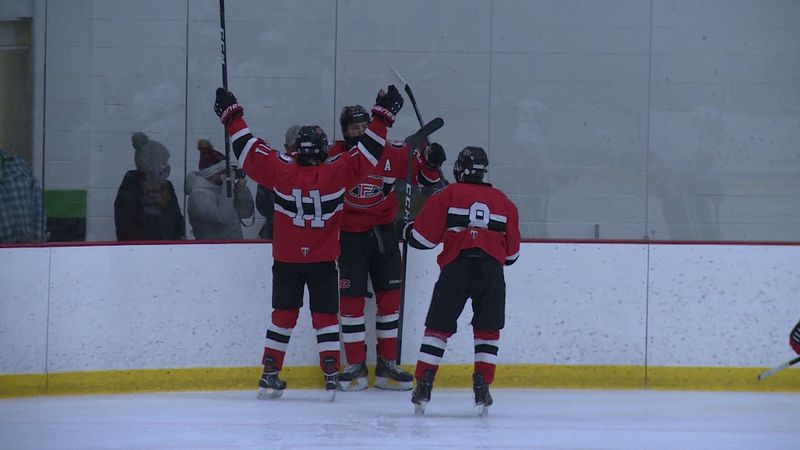 Chippewa Falls celebrates scoring vs. North.
