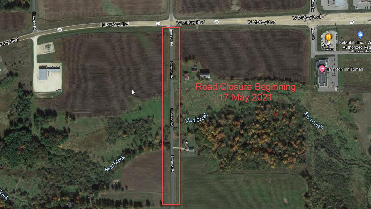 A map showing the road closure near Tomah for Emerson Road due to a bridge replacement...