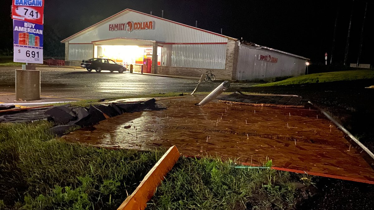 Part of the roof was lifted off of a Family Dollar in Osseo, Wis. on Wednesday, July 28, 2021...