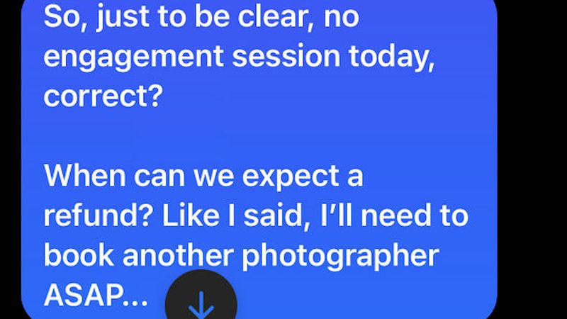 A message sent from a client to the photographer