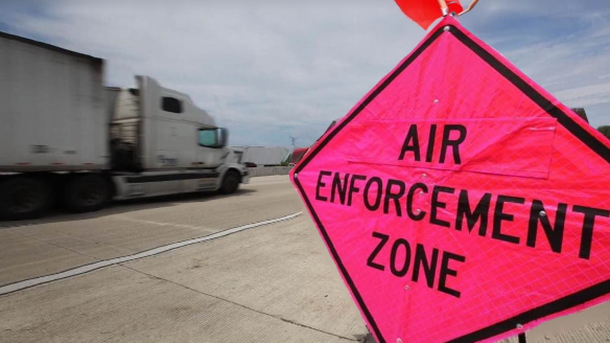 A sign noting the zone in which the Wisconsin State Patrol is conducting aerial enforcement of...