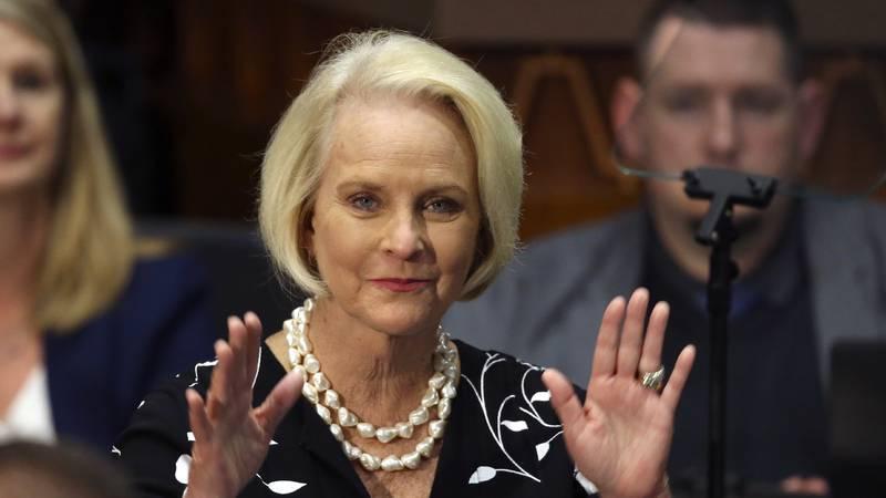 In this Jan. 13, 2020, file photo Cindy McCain, wife of former Arizona Sen. John McCain, waves...