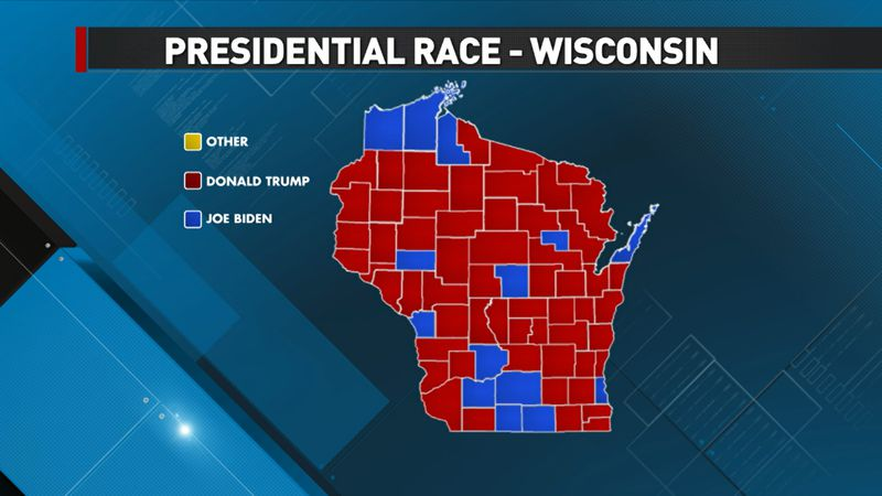A map showing how Wisconsin counties voted in the 2020 presidential election.