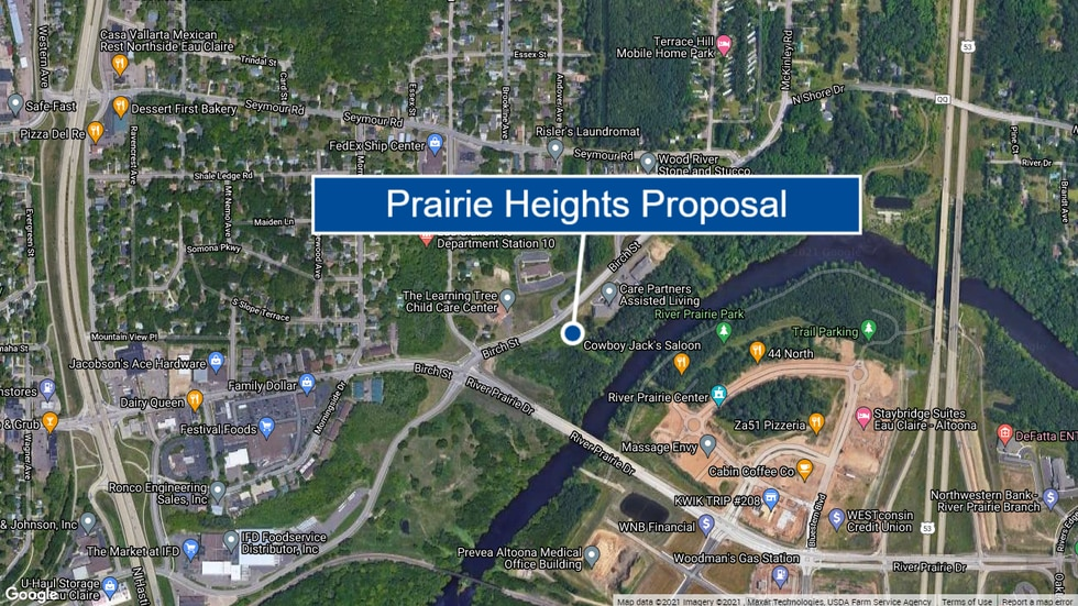 A map showing the location for Prairie Heights Residences in Eau Claire.