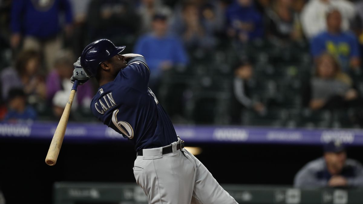 Milwaukee Brewers center fielder Lorenzo Cain (6) in the fourth inning of a baseball game Friday, Sept. 27, 2019, in Denver. (AP Photo/David Zalubowski)