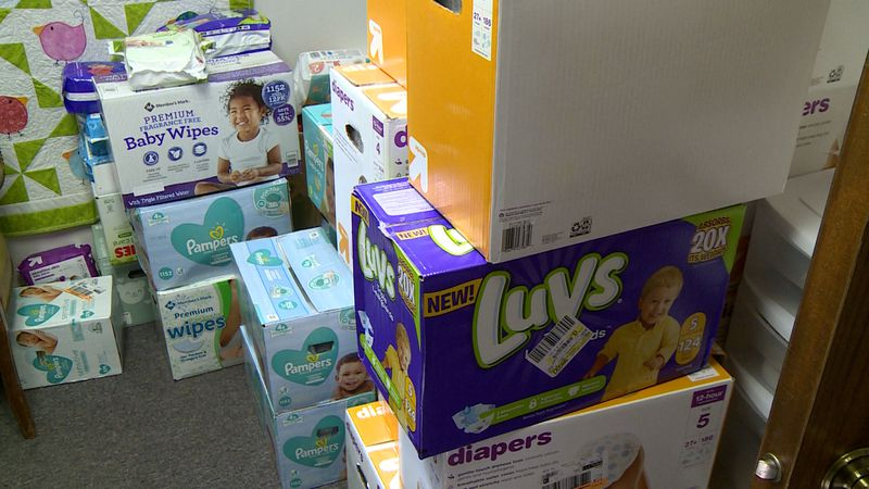 diapers donated to the center