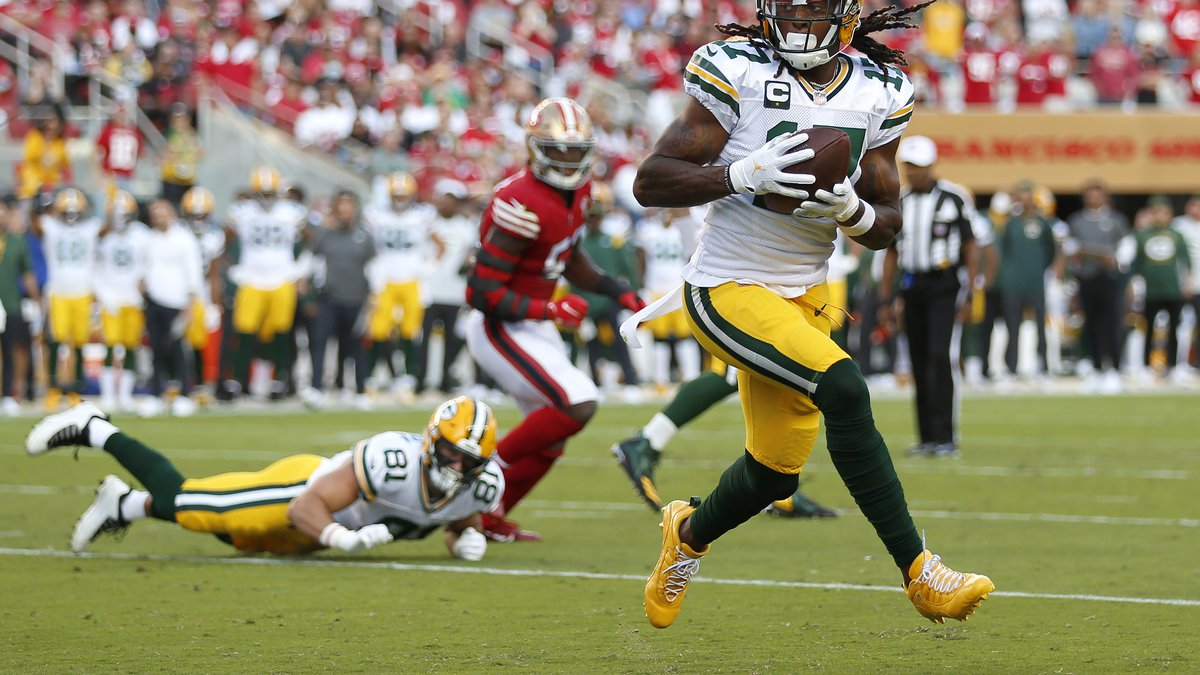 Green Bay Packers wide receiver Davante Adams catches a touchdown pass against the San...