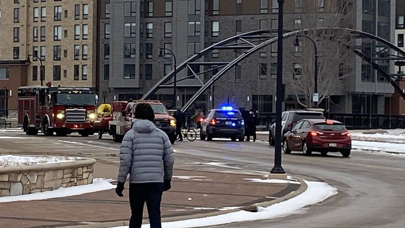 Police rescue several people after falling through ice at Phoenix Park Sunday afternoon.