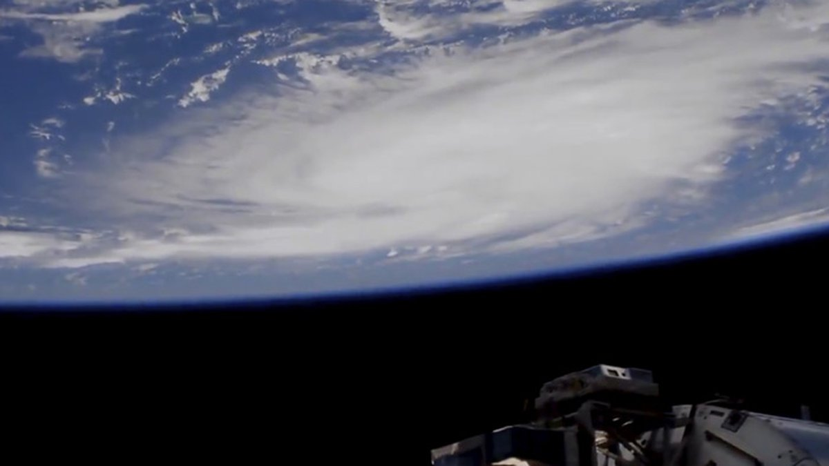 This Thursday, Aug. 29, 2019 image provided by NASA shows a view of Hurricane Dorian from the...