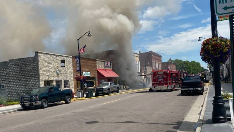 A building is on fire in Augusta.