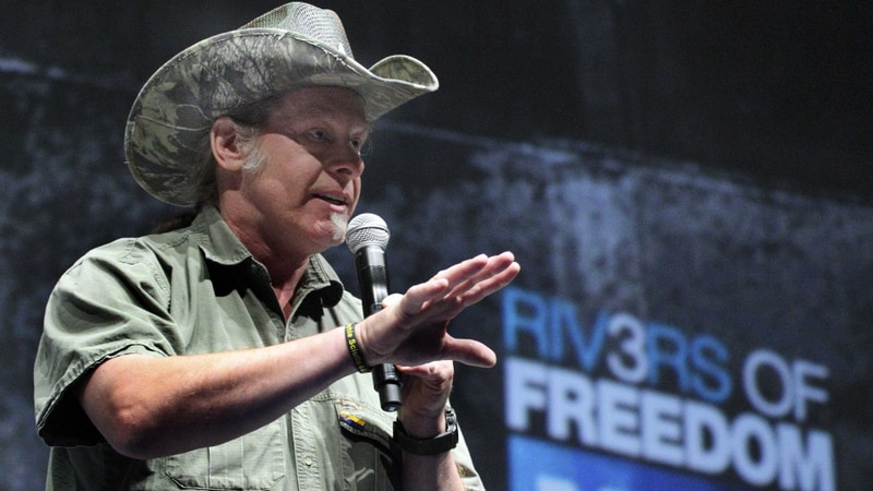 FILE - In this May 1, 2011, file photo, musician and gun rights advocate Ted Nugent addresses a...
