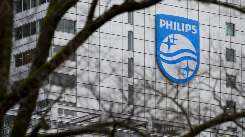 The company logo of Royal Philips NV sits on the head office in Amsterdam, Netherlands,...