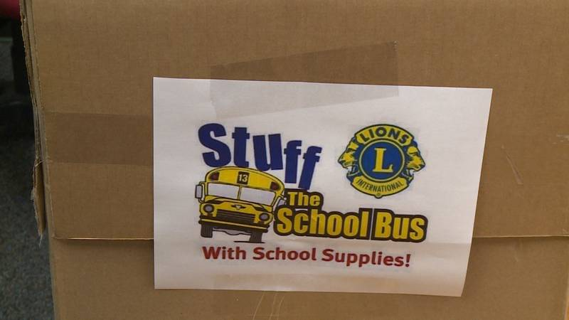 """The """"Stuff the School Bus"""" donation box at the Dunn County Sheriff's Office."""