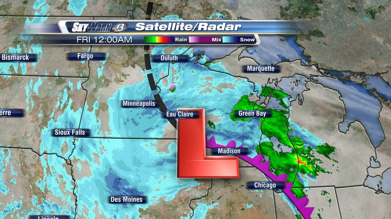 A strong winter storm impacts the Upper Midwest.