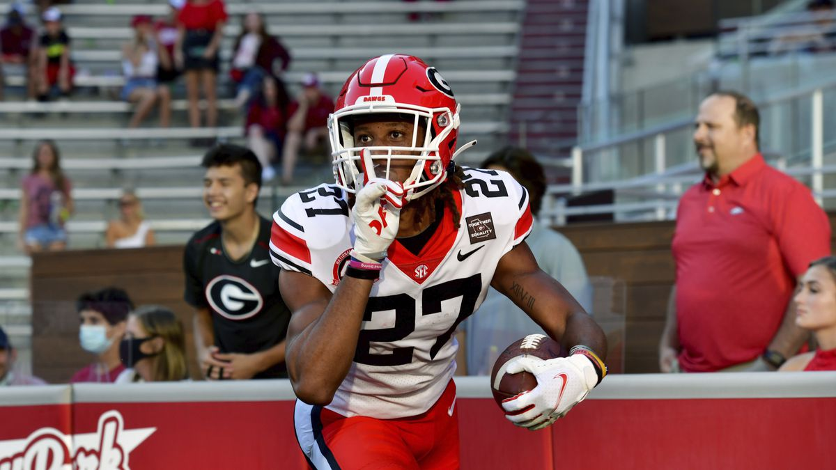 FILE - In this Saturday, Sept. 26, 2020 file photo, Georgia defensive back Eric Stokes (27)...