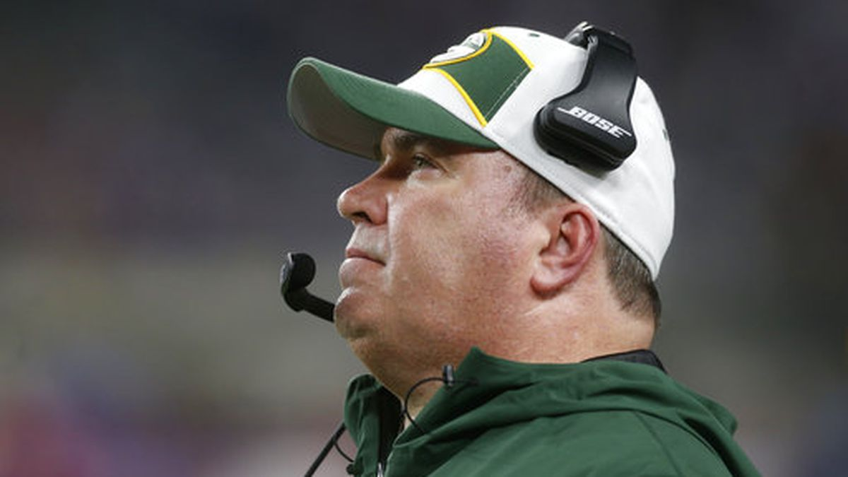 Green Bay Packers head coach Mike McCarthy watches from the sideline during the second half of an NFL football game against the Minnesota Vikings, Sunday, Nov. 25, 2018, in Minneapolis. (AP Photo/Jim Mone)