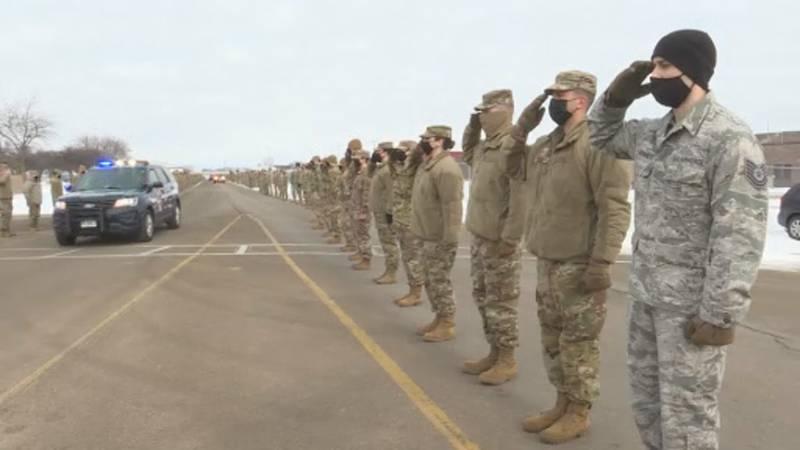 "Major Durwood ""Hawk"" Jones died last month in a fighter jet crash. Today, his remains returned..."