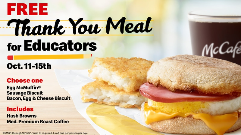From Oct. 11-15, McDonald's is making school day mornings a little brighter for teachers,...