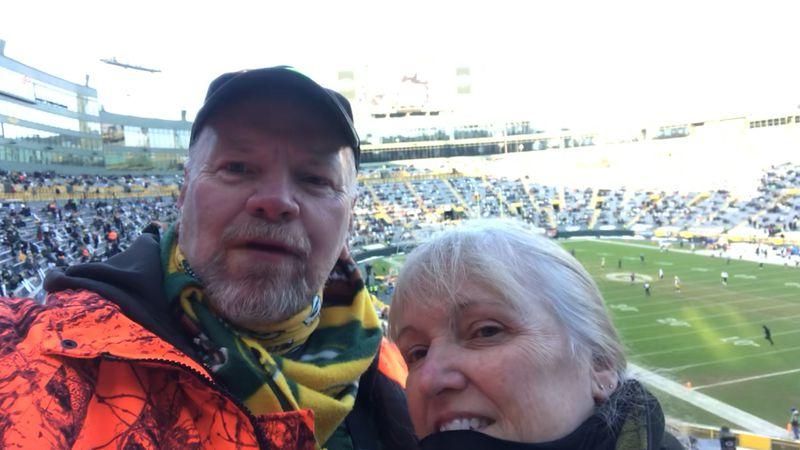 Couple from Chippewa Falls, Pat and Mary O'Connell Sunday, inside Lambeau Stadium sending WEAU...