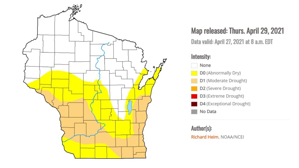 A map showing drought conditions in Wisconsin as of April 29, 2021.