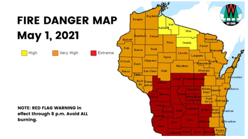 The Wisconsin DNR along with the National Weather Service issued a Red Flag Warning for several...