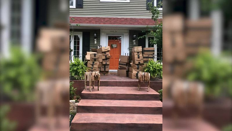 Amazon mistakenly delivered 150 packages to a woman's home in New York and she is helping out a...