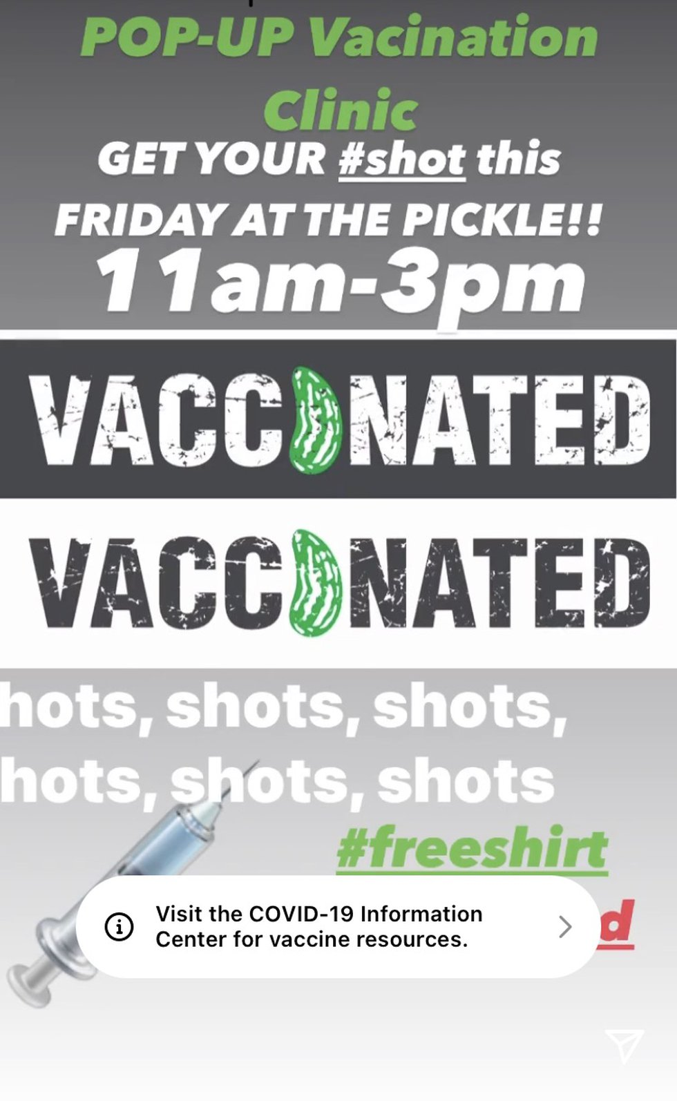 The Pickle will be hosting a COVID-19 vaccine clinic on Friday.