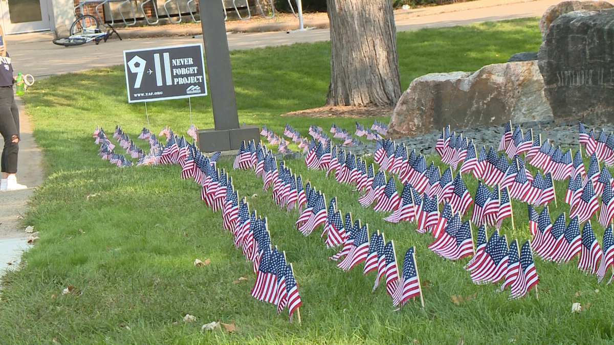Flags at UW Stout represent each of the victims of the 9/11 attacks.