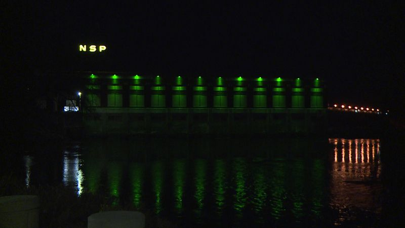 The Chippewa Falls Hydro Generating Station is honoring Troop 3055 by lighting up the plant...