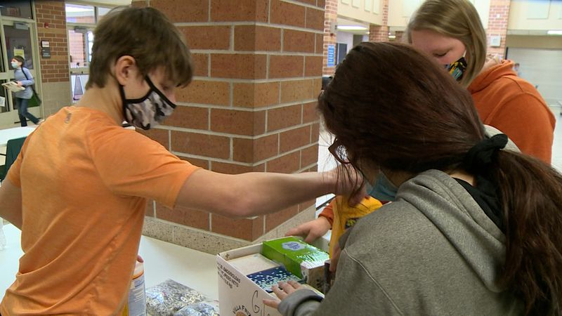 Students packing donations