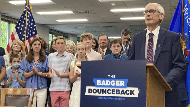 Democratic Wisconsin Gov. Tony Evers speaks before he signs the Republican-written state budget...