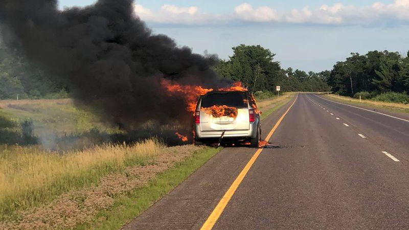 Barron County vehicle fire