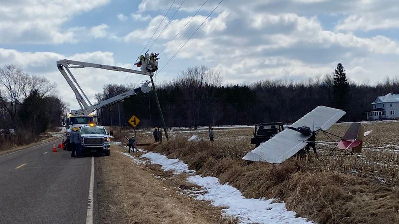 A one-person aircraft struck a utility pole in northwest Chippewa County on 3/17/2021.