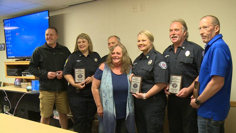 EMT heroes recognized for role in saving Kyle Felce's life when he had a cardiac emergency in...
