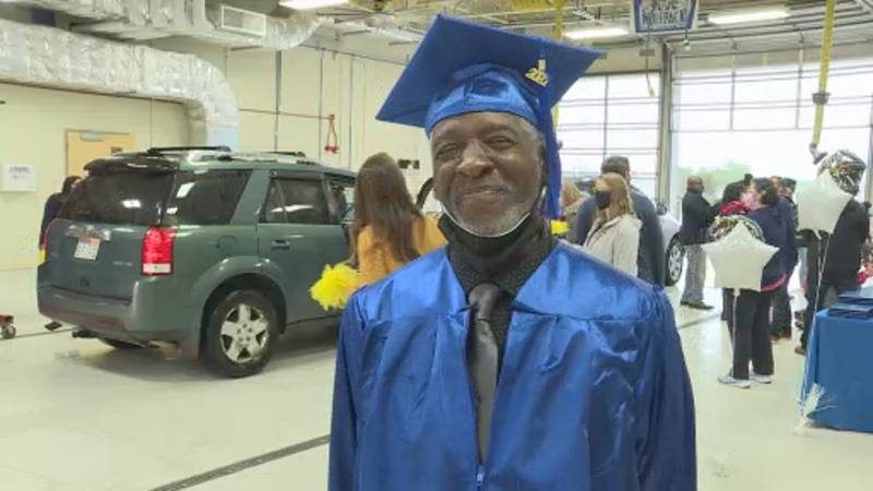 67-year-old Charles Satterfield got his GED certificate at Madison College on Thursday.