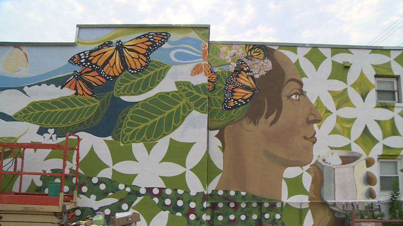 """The Birch Street mural  """"Contemplations of Pollaiuolo's 'A Woman in Green and Crimson' """" will..."""