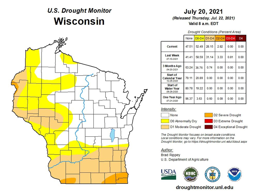 A map and data table showing drought conditions in Wisconsin as of July 20, 2021.