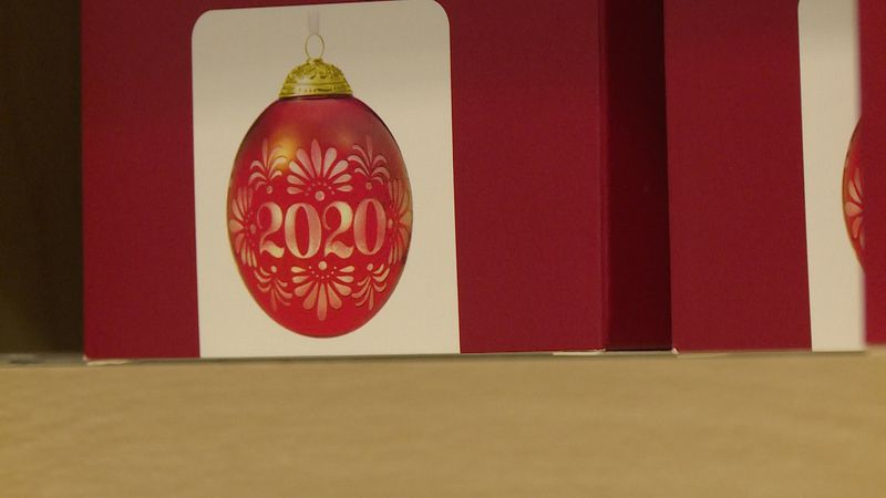 A 2020 ornament in a box at Country Treasures Hallmark in Chippewa Falls, Wis.