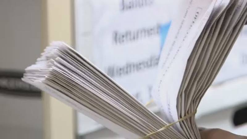 A collection of absentee ballots in Dane County, which will be part of a recount as requested...