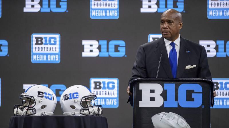 Big Ten Commissioner Kevin Warren speaks during a Big Ten NCAA college football media days...