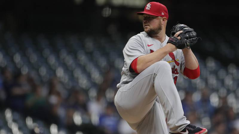 St. Louis Cardinals' Jon Lester pitches during the first inning of a baseball game against the...